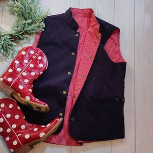 Talbots reversible red checkrd & Navy quilted vest